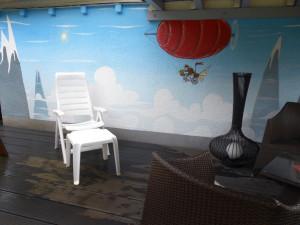 Pilote, livraison, zeplin, fresque, Riehen, paysage
