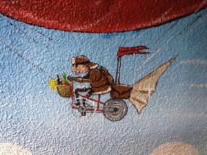 Pilote, livraison, zeplin, fresque, Riehen