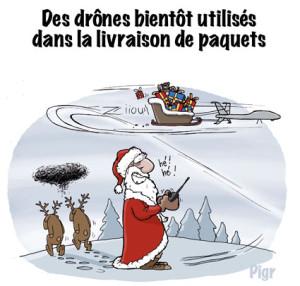 Drône, livraison, Père Noël, rennes, cadeaux, traineau