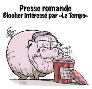 Blocher, cochon, confiture, Le Temps, journaux, Suisse