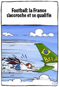 Qualification, bleus, équipe de France, coupe du monde, Brésil, cocorico, coq, avion