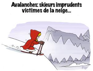Avalanche, gueule du loup, chaperon rouge, ski, snowboard
