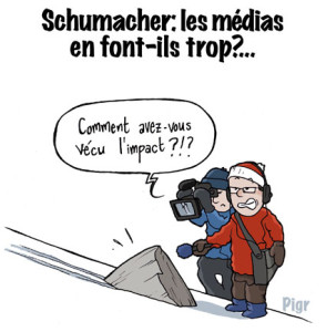 Schumacher, accident de ski, presse, médias, impact, rocher, Grenoble