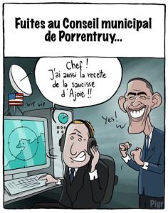 Porrentruy, fuite, NSA, saussice d'Ajoie, Obama