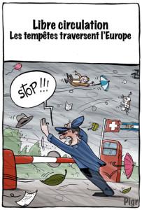 libre circulation, douane, tempête, Europe, Suisse, stop
