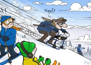 Sixième dimension, Crans-Montana, déambulateur, piste de ski, skieur, vieux