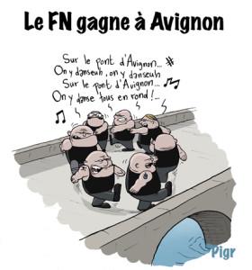 Sur le pont d'Avignon, pont, Avignon, FN, Facho, extrême droite